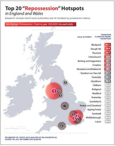Mortgage Repossession Hotspots England and Wales